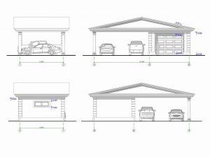 Архитектурный проект гаража с навесом