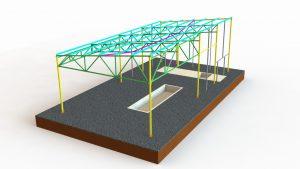 Проект фундаментов и установки металлического каркаса ангара